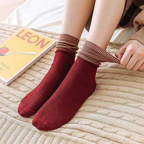 Transpirabilidad cálida y cómoda para Mujeres. Colores Tablet Botas de Invierno Calcetines Medios de Mezcla cilíndricos 5 Pares (Color : A)