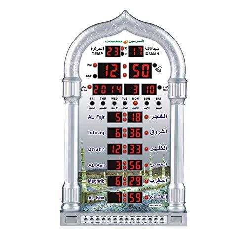 LQNB Muslim Beten Islamischen Azan Tisch Uhr Azan Wecker 1500 St?Dte Athan Adhan Salah Gebet Uhr Eu Stecker Silber