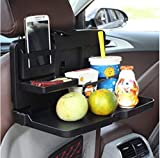 ZAIBANG Car Food Tray Folding Dining Table Drink Holder Car Pallet for Back Seat Water Car Cup Holder Black
