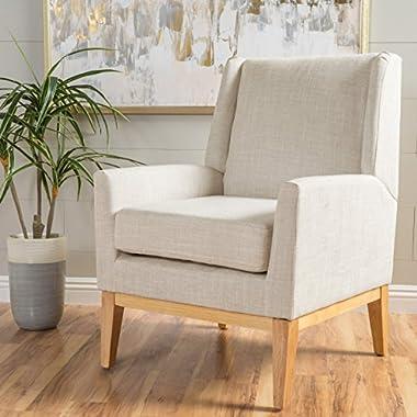Archibald | Mid Century Modern Fabric Accent Chair | in Beige