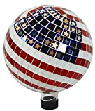"Alpine Corporation Mosaic American Flag Gazing Globe - Mosaic Glass Sphere with Neck  - Outdoor Yard Art Decor - 10"" x 10"" x 12"""