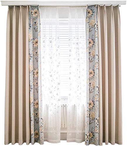 RR & LL gordijnen voor de woonkamer in Scandinavische stijl, kant-en-klare gordijnen voor de vloer aan het plafond, ondoorzichtig, vensternaden, frisse gordijnen (grootte: breedte 300 cm, hoogte 270 cm) Width 350*height 270cm 5 stuks.