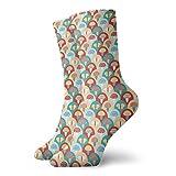 Calcetines suaves de media pantorrilla, coloridos, abstractos, estilo retro, composición con taburetes y mariposas, calcetines para mujeres y hombres, ideales para correr