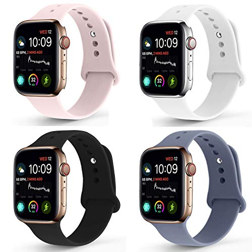 NUKELOLO Sport Band Compatible with Apple Watch 38MM 40MM, Soft Silicone Replacement Strap Compatible for Apple Watch Series 4/3/2/1 [S/M Size in Black/White/Pink Sand/Lavender Gray]
