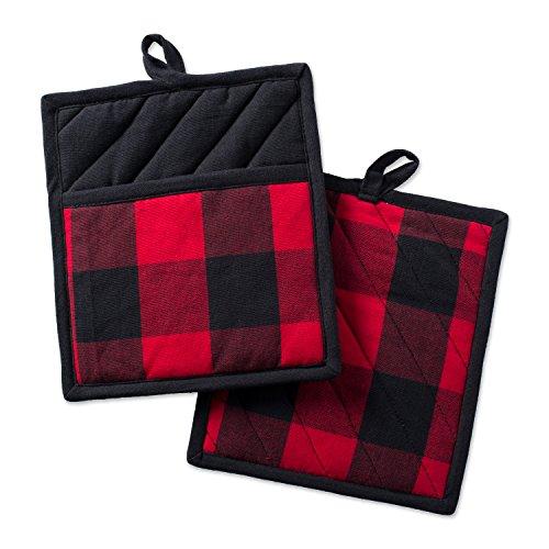 DII Buffalo Check, Classic Farmhouse Kitchen Collection, Potholder Set, Red & Black, 2 Piece