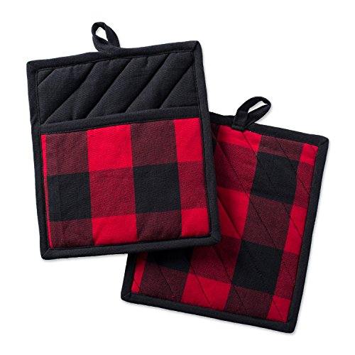 DII Buffalo Check Kitchen Collection Classic Farmhouse Style For Your Home and Kitchen, Potholder Set, Red & Black 2 Piece