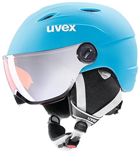 Uvex Kinder Skihelm Junior Visor Pro, LiteBlue-white Mat, 46-52 cm