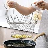 Duokon Cestello per friggere, cestello Pieghevole per friggere Filtro da Cucina per Patatine Fritte Friggitrice per Patate Frittura Cucina Strumento di Cottura