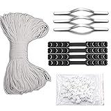 Elastic String for Masks,(55 Yards), Nose Bridge for mask(100pcs), Cord Locks(100pcs),Strap Extender(4pcs), DIY Mask Kits