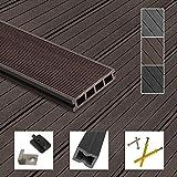 Montafox WPC Terrassendielen Dielen Komplettset Hohlkammerdiele Komplettbausatz Unterkonstruktion Clips, Größe (Fläche):25 m² 4m, Farbe:Dunkelbraun