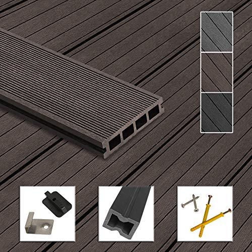 Montafox WPC Terrassendielen Dielen Komplettset Hohlkammerdiele Komplettbausatz Unterkonstruktion Clips, Größe (Fläche):26 m² 2.2m, Farbe:Dunkelbraun