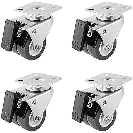 Cozywind roulettes pivotantes de 4 pièces roulettes de Transport 50mm Roues avec Frein à roulement à Rouleaux Economique, silencieuse, Non tachant, pour sols irréguliers de 400 kg