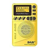 szdc88 Mini Radio Digital Mini Radio Dab USB Recargable con Radio FM, Reproductor MP3, pantalla LCD de 1,44 pulgadas y altavoz para caminar o estimular, 105x62x20mm, jaune