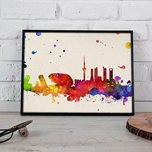 Nacnic Lámina Ciudad de Madrid. Skyline Estilo Acuarela y explosión de Color. Poster tamaño A3 Impreso en Papel 250 Gramos y tintas Decoración del hogar. Diseño al Mejor Precio.