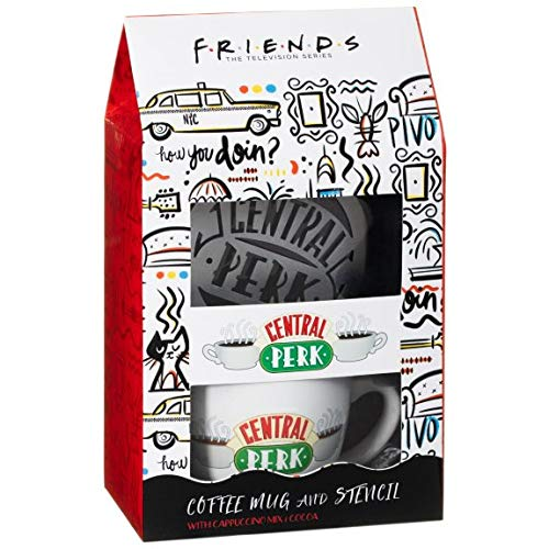 Friends Merchandise Kaffeetasse TV-Serie Geschenkset – Friends Cappuccino Tasse mit Neuheit Central Perk Schablone und Cappuccino und Kakaomischung