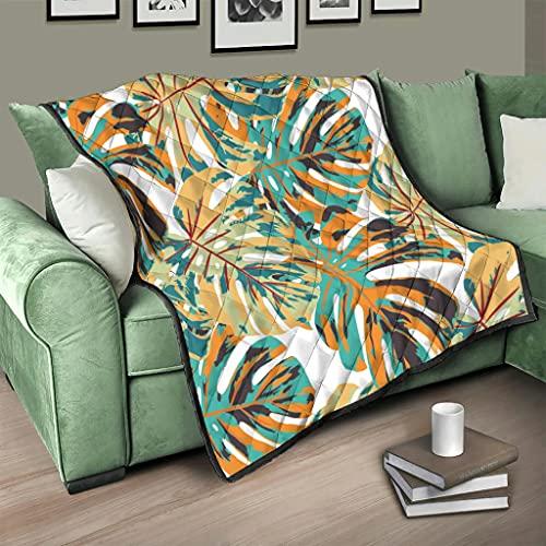 Flowerhome Colcha con diseño tropical de palmeras, para cama o sofá, para adultos y niños, color blanco, 180 x 200 cm