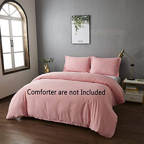 Best Season King Size Bedding Duvet Cover Sets 3 Piece with 2 Pillow Shams,Zipper Closure Super Soft Brushed Microfiber Comforter Cover (Pink Color)