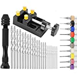 Welpettie 37pcs Pin Vise Hand Drill Bits Mini Hand Drill Rotary Tools With Twist Drills And Bench Vice For Craft Carving Diy Woodworking Plastic Jewelry Or Model Making
