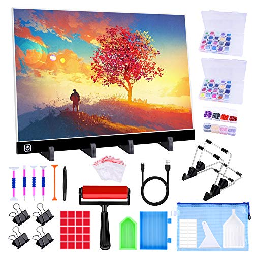 Ratukall A3 Light Pad for Diamond Painting, Diamond Art LED Light Board Kit, Portable Light Box for Tracing with 5D Painting Tools Set for Full Drill Diamond Painting Accessories
