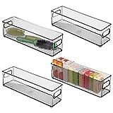 mDesign Juego de 4 cajas de plástico con asas integradas – Organizador de maquillaje de diseño atractivo para ahorrar espacio – Caja organizadora ideal para guardar cosméticos en el baño – gris humo