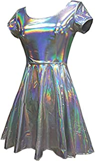 Holographic High Waisted Flare Skater Dress (M, Silver)