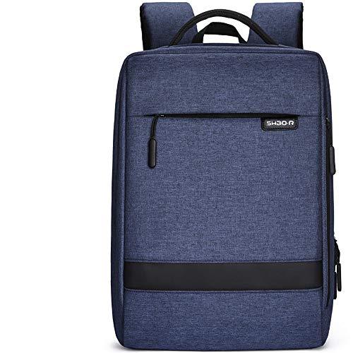 San qing Laptop-Rucksack, professioneller Business-Rucksack mit USB-Ladeschnittstelle, 15,6-Zoll-Laptop und wasserdichter Laptop,Blue