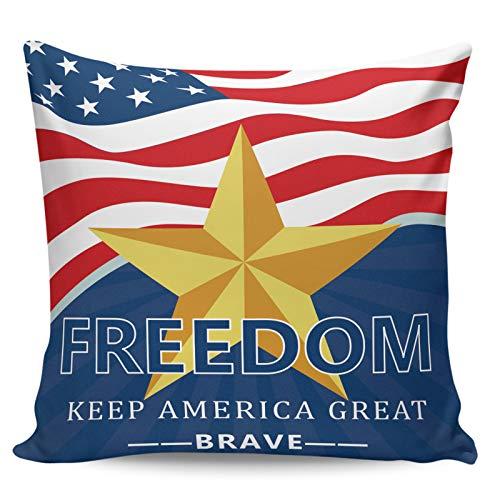 Winter Rangers Dekorativa prydnadskuddöverdrag – självständighetsdag amerikansk flagga guld pentagram frihet kort plysch kuddöverdrag för soffa bäddsoffa, ultramjuk och andas, 40 cm x 40 cm