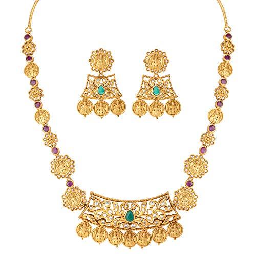 Aheli Elegant Indian Laxmi Goddess Design Crafted Faux Stone Studded Pendant Necklace Set Ethnic Wedding Fashion Temple Jewelry for Women