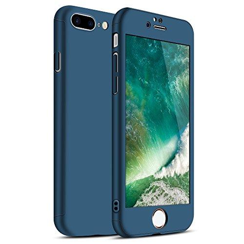 Zouzt iPhone 7 Plus Caso, iPhone 8 Plus Caso, a 360 Gradi Copertura Completa Custodia Corpo con Vetro temperato Protezione dello Schermo-Blu