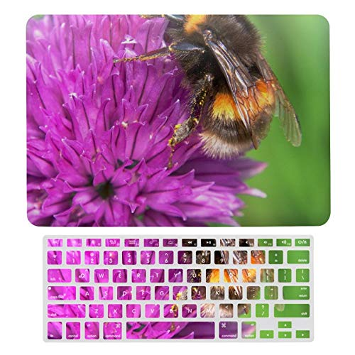 For MacBook New Pro 13 Touch Case A1706、A1989、 A2159, Hard Shell & Keyboard Case Cover for Apple Mac New Pro 13 Touch, Bumblebee On Purple Chives Flower Laptop Protective Shell Set