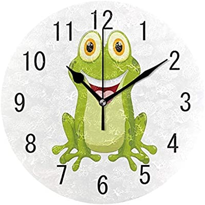 Cartoon Hipster Frog Wood Wall Clocks Silent Non Ticking Decorative for Living Room Bedrooms Office 12