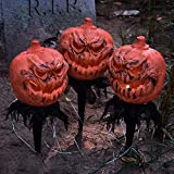 FUN LITTLE TOYS 3 Pieces Halloween Jack-o-Lantern Lighted Decoration, Pumpkin Outdoor Halloween Party Decoration