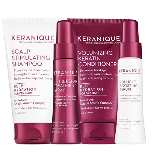 Keranique Deep Hydrating Thicker, Fuller Hair Kit – 30 Days | Shampoo, Conditioner, Follicle Boosting Serum, Lift & Repair Treatment Spray | Keratin Amino Complex Infused