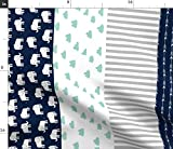 Spoonflower Fabric - Elephant Quilt Mint Navy Wholecloth Cheater Stripes Nursery Printed on Petal Signature Cotton Fabric by The Yard - Sewing Quilting Apparel Crafts Decor