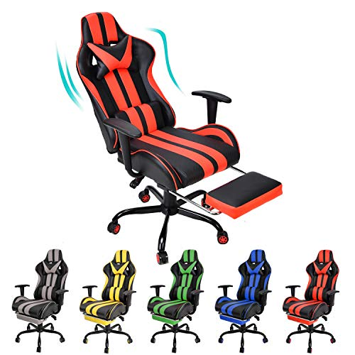 Gaming Chair,Large Size Massage Ergonomic Racing Style PC Game Computer Chair with Headrest Lumbar Support Footrest Adjustable Recliner PU Leather High Back Computer Chair(Tango Red) chair gaming