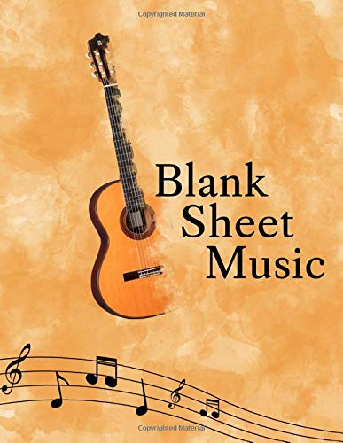 Blank Sheet Music: Songwriting Journal - Sheet Music Composition Notebook Combined with Lined Pages for Song Lyrics - Additional Pages for Notes - 8.5 ... 130 pages - Vintage Classical Guitar Design