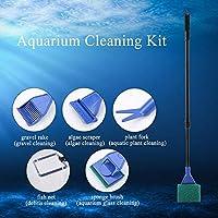 【𝐁𝐥𝐚𝐜𝐤 𝐅𝐫𝐢𝐝𝐚𝒚 𝐒𝐚𝐥𝐞】簡単に組み立て、分解できる、水槽洗浄ツール、5 in 1の水族館洗浄キット、ブラシ砂利藻類クリーナー魚ツール、水槽用