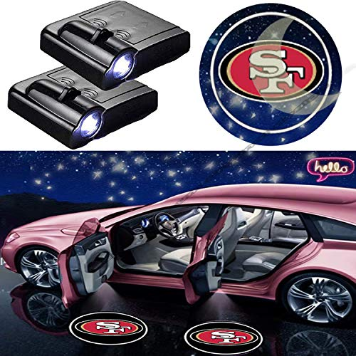 2pcs LED For San Francisco 49ers Logo Universal Wireless Car Door Led Welcome Laser Projector Car Door Courtesy Light Fit for all brands of cars(San Francisco 49ers).