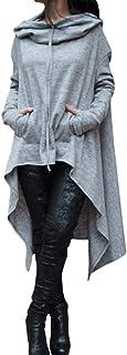 Sonnena Sudadera Mujer Sudadera Manga Larga Traje de Invierno Otoño Moda Fashion Streetwear, Capucha Flojas de Las Mujeres Suéter de Las señoras Suéter de la Blusa asimétrica