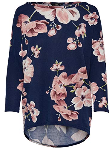 Only onlELCOS 4/5 AOP Top JRS Noos Blusa, Multicolor (Night Sky AOP:Flower Print), 38 (Talla del Fabricante: Medium) para Mujer