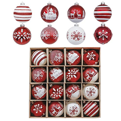 Valery Madelyn 16ct 80mm Christmas Ball Ornaments Traditional Red and White, Large Shatterproof Christmas Tree Ornaments for Xmas Decoration, Themed with Tree Skirt (Not Included)