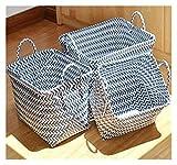 Dpsyszd Cesta de Almacenamiento Mano-Trenza rectángulo Sucio Ropa de lavandería Cesta de plástico Rota misceláneas del Organizador Cesta de Almacenamiento de Gran Capacidad con Mango