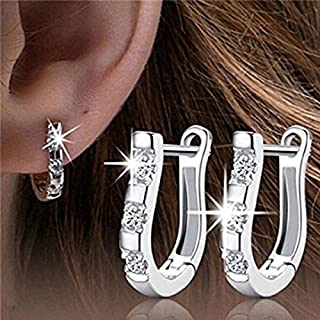 Rurah Women Earrings Fashion U-shaped Zircon inlaid Geometric Ear buckle