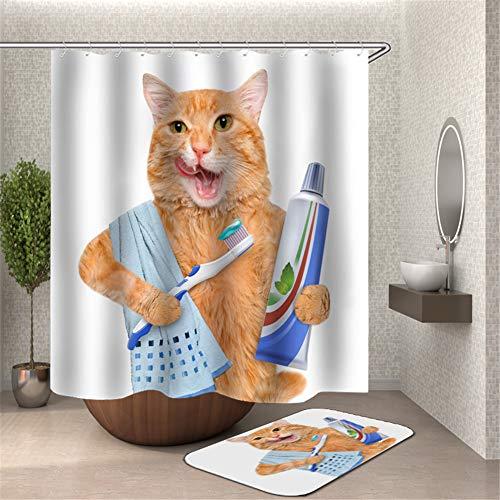 ZZZdz De kat poetst zijn tanden met tandpasta. Tapijt. Plus fluweel. 40 x 60 cm. Douchegordijn. 3D Hd Afdrukken. Waterdicht. 180 x 180 cm. Woondecoratie.