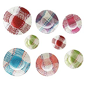 24 pcs mini straw hats miniature knitting hats paper fabric cap for mini house diy craft decoration accessories colorful
