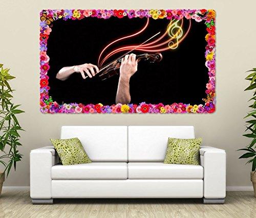 3D Wandtattoo Musik Geige Noten abstrakt Hände selbstklebend Wandbild Tattoo Wohnzimmer Wand Aufkleber 11M1267, Wandbild Größe F:ca. 97cmx57cm