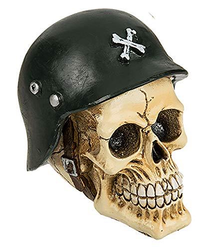 MIK Funshopping Deko-Totenkopf aus Polyresin (Armee mit Helm)