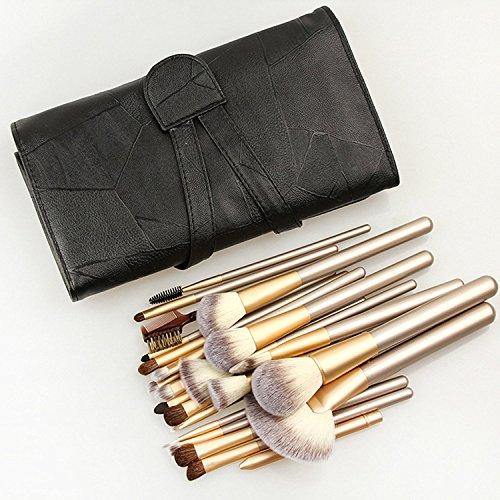 XDBMA Lot de 24 pinceaux de maquillage professionnels en crin de cheval pour fond de teint avec étui blanc crème (noir)
