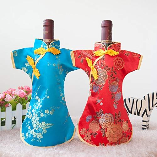 GSDJU 10 Uds Vestido Chino de Lujo Brocado de Seda Fundas para Botellas de Vino Bolsa de Polvo 750ml Bolsas de Embalaje decoración de Mesa de Boda de Navidad