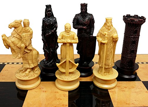 HPL Medieval Times Crusades King Richard Lionheart Knight Chess Men Set Antique Color- NO Board
